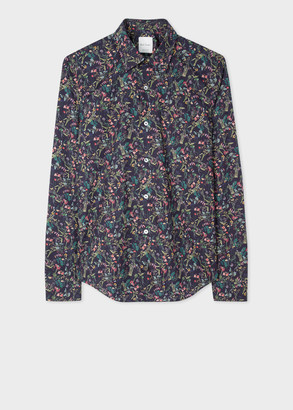 Paul Smith Men's Super Slim-Fit Navy 'Scattered Floral' Print Shirt