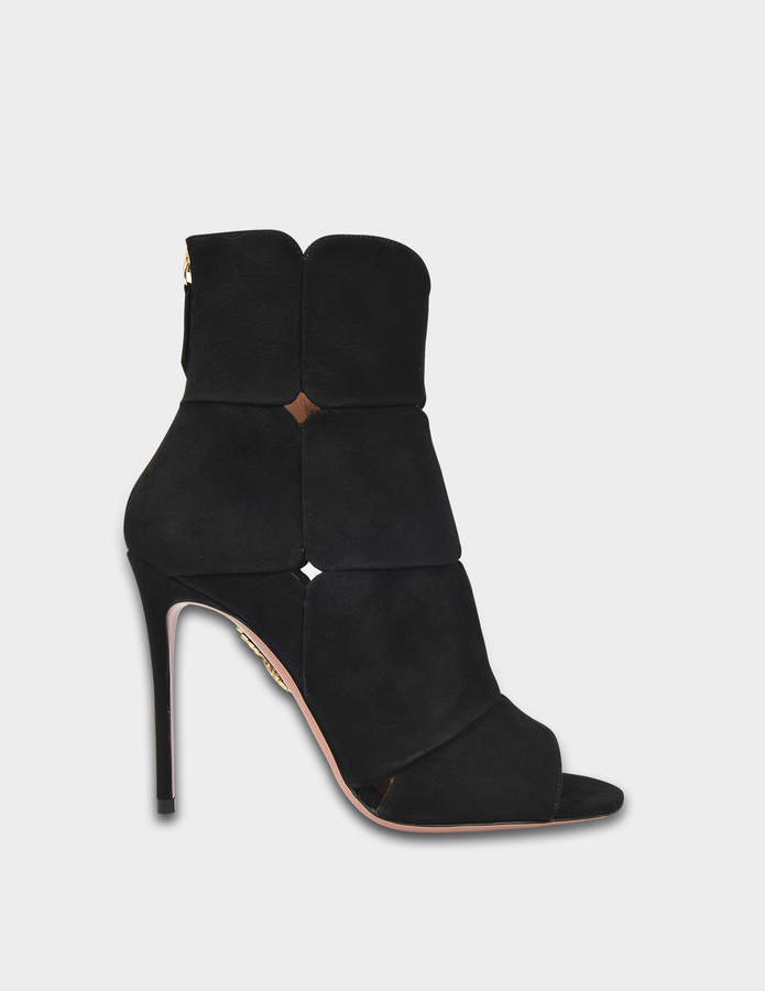 Aquazzura Lucrezia Booties 105 in Black Suede