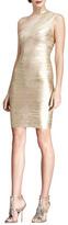 Herve Leger One-Shoulder Metallic Bandage Dress