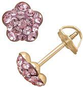 Swarovski 14k Gold Light Rose Crystal Flower Stud Earrings - Made with Crystals - Kids
