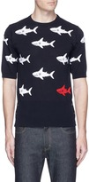 Thom Browne Shark intarsia short sleeve cotton sweater