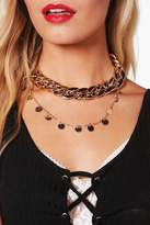 boohoo Hannah Chunky Chain Layered Choker Set gold