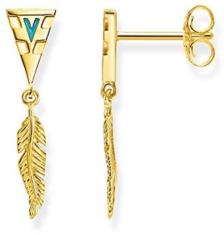 Thomas Sabo Women earrings feather 925 Sterling Silver; 18k Yellow Gold Plating, Turquoise Enamelled H1991-427-17