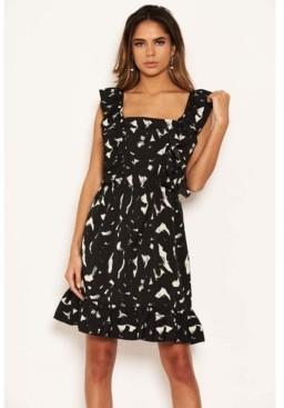 AX Paris Women's Printed Square Neck Frilled Dress