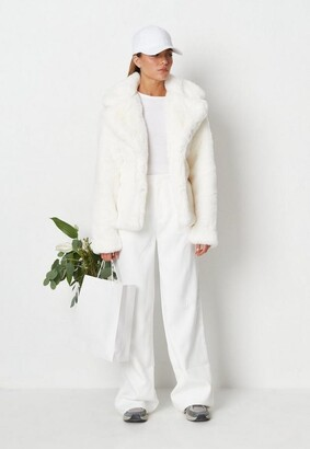 Missguided White Faux Fur Short Collar Coat