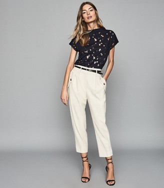 Reiss Sofia - Capped Sleeve Lace Top in Navy