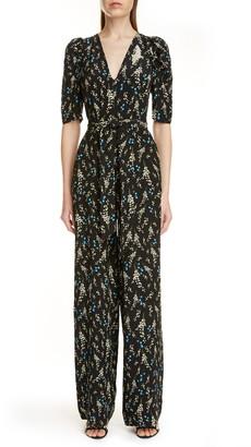 Erdem Floral Print Belted Silk Jumpsuit