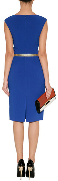 Michael Kors Sapphire Belted Wool-Blend Sheath Dress