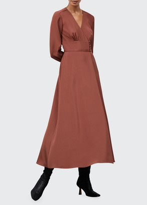 Lafayette 148 New York Somerby Luxe Stretch Crepe De Chine Long Dress