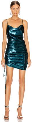 Cinq à Sept Shiny Astrid Dress in Teal Topaz | FWRD