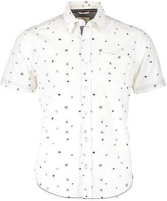 Burnside Men's Button Down Shirts WHITE - White Scissor Print Button-Up - Men