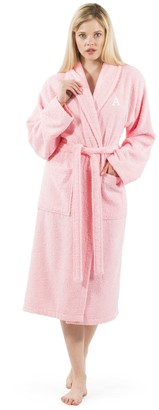 Linum Home Textiles Pink Personalized Terry Bathrobe