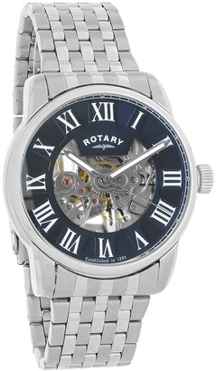 Rotary Mens Skeleton Automatic Watch with Stainless Steel Strap GB00400/05