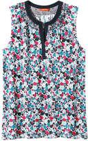 Joe Fresh Women's Contrast Neck Shell Top, Navy (Size XS)
