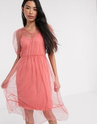 Vero Moda midi dress in spot mesh in pink