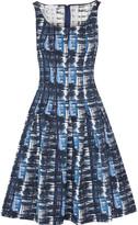 Oscar de la Renta Pleated Jacquard Dress - Blue