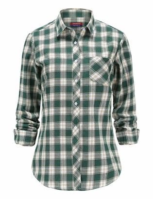 Dioufond Flannel Shirts for Women Long Sleeve Button Down Ladies Checked Shirts UK 8 / Tag M Blue Buffalo Check
