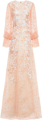 Costarellos Layered Embroidered Flocked Tulle Gown