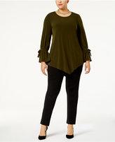 Alfani Plus Size Ruffled-Sleeve Pointed-Hem Blouse, Created for Macy's