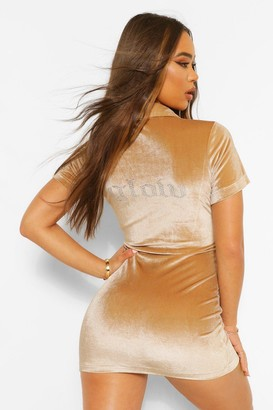 boohoo Glow Diamante Slogan Popper Velour Mini Dress