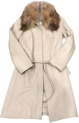 Non Signé / Unsigned Non Signe / Unsigned Beige Leather Coat for Women