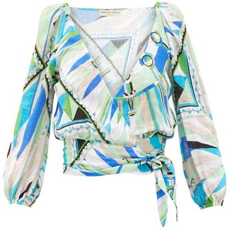 Emilio Pucci Bes-print Wrap-front Cotton-canvas Cropped Top - Green Print
