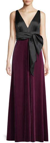 Charmeuse Bow Gown w- Velvet Skirt