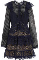 Self-Portrait Tiered Guipure Lace Mini Dress - Navy