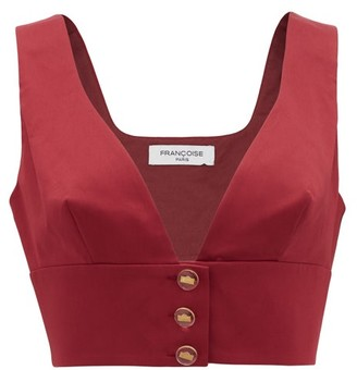 Francoise - Cropped Cotton-blend Top - Burgundy