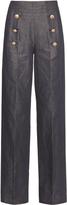 No.21 NO. 21 Linen and cotton-blend trousers