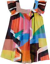 Milly GEOMETRIC-PRINT COTTON GAUZE COVER-UP DRESS