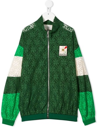 Gucci Kids Floral Lace Bomber Jacket