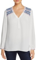 NYDJ Embroidered High/Low Blouse