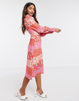 Outrageous Fortune ruched bust & sleeve detail midi dress in contrast geo print