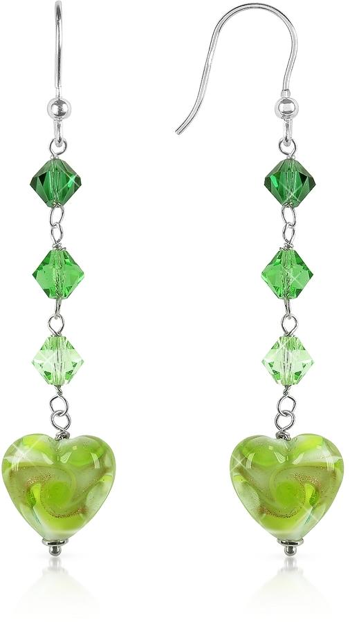 Glass Heart House of Murano Vortice - Lime Swirling Murano Earrings