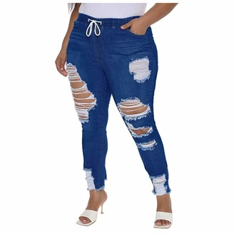 Muyise Women High Waisted Ripped Pants Lace up Skinny Pencil Pants with Pocket Trousers Pants Casual Streetwear Denim Jeans Pants Blue