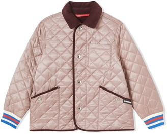 BURBERRY KIDS TEEN Corduroy Trim Lightweight Diamond Quilted Jacket