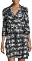 Julie Brown Milo Polka-Dot 3/4-Sleeve Wrap Dress, Black Mint Sinclair