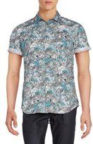 Calvin Klein Jeans Confetti Camo-Print Cotton Short Sleeve Shirt