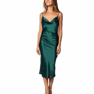 yeah2017 Women's Elegant Satin Bodycon Midi Dress Sexy Spaghetti Strap Club Cocktail Slim Fit Dress (B# Green Tag XL(UK 10))