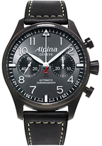 Alpina Al-860gb4fbs6 Startimer Pilot Chronograph Blackstar Leather Strap Watch, Black/dark Grey