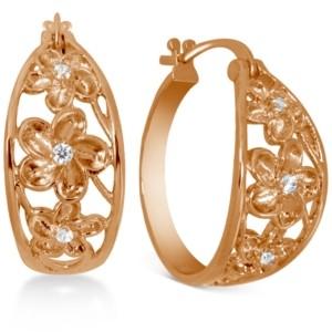 "Kona Bay Small Cubic Zirconia Openwork Flower Hoop Earrings in Rose Gold-Plate, 1"""