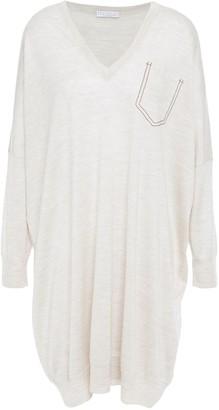 Brunello Cucinelli Oversized Bead-embellished Melange Cashmere And Silk-blend Dress