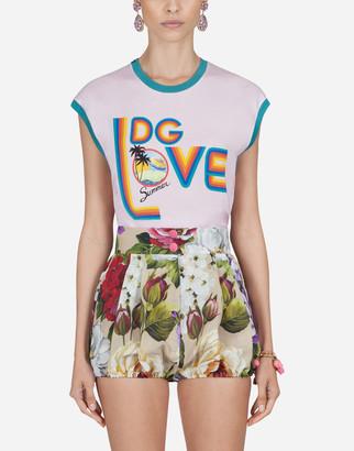Dolce & Gabbana Jersey T-Shirt With Summer Print