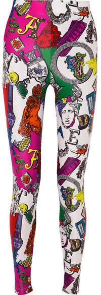 Versace Printed Stretch-jersey Leggings - Red