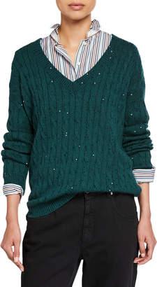 Brunello Cucinelli Cashmere-Silk Sequined Cable-Knit Sweater
