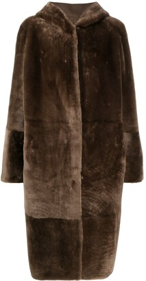 Liska Hooded Shearling Coat