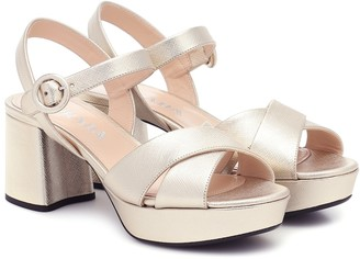 Prada Metallic leather platform sandals
