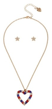 "Betsey Johnson Heart Pendant Stud Earrings Set in Gold-tone Metal, Necklace 16"" + 3"" Extender and Earring 0.4"""
