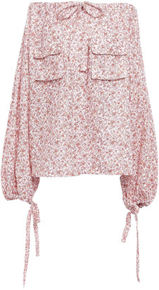 Zimmermann Off-the-shoulder Floral-print Linen-gauze Top
